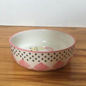 Stoneware Ceramic White & Pink Cat Bowl
